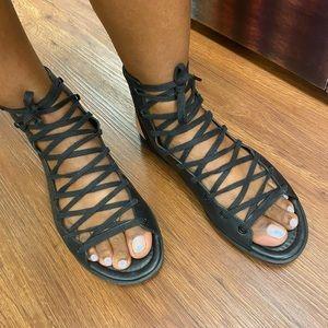 Ateleje 71-BLACK  vachetta gladiator sandals